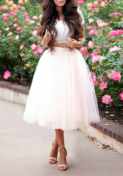Jupe mi-longue tutu en tulle taille haute mode femme blanc