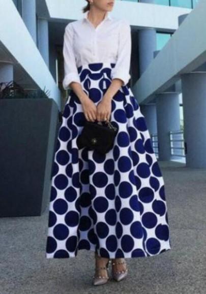 Jupe maxi points polka imprimé poches plissées à haute taille évasées blanc-bleu