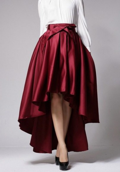 Red Pleated Sashes Bow Swallowtail High-low High Waisted Flared Maxi Skirt