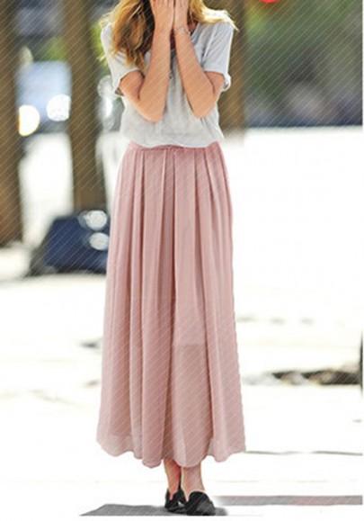 Jupe plaine chiffon plissé une ligne taille normale élégant rose
