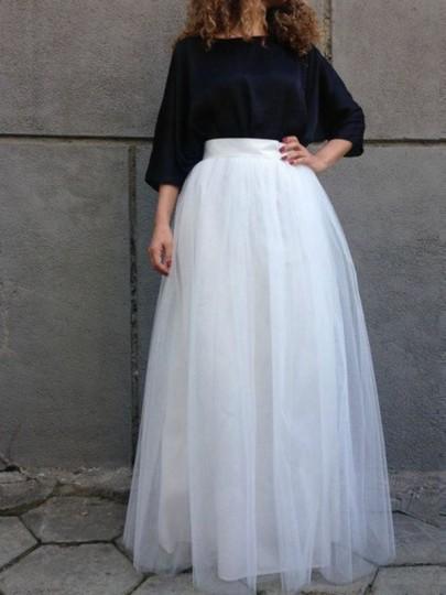 Falda grenadina plisado tutu alto cintura elegantee blanco