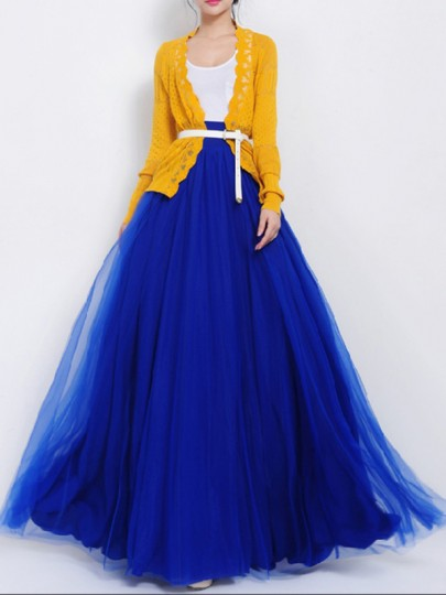 Sapphire Blue Patchwork Grenadine Pleated Fashion Long Tutu Maxi Skirt