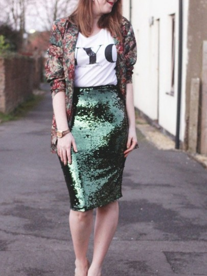 Green Sequin Bodycon High Waisted Fashion St.Patrick's Day Party Skirt