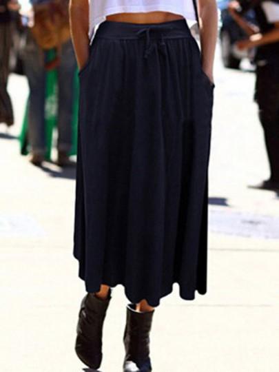 Jupe poches noeud papillon mode haute taille plissée bleu