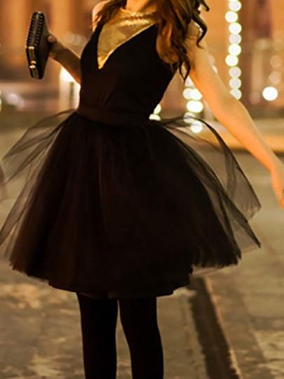 Jupe courte plissé taille élastique tutu en tulle femme élégant noir