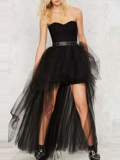 Black Grenadine Double-deck Adorable Tutu High-Low Homecoming Party Cute Skirts