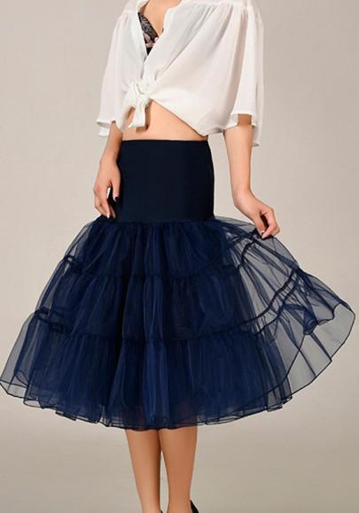 Navy Blue Grenadine Blue High Waisted Above Knee Skirt