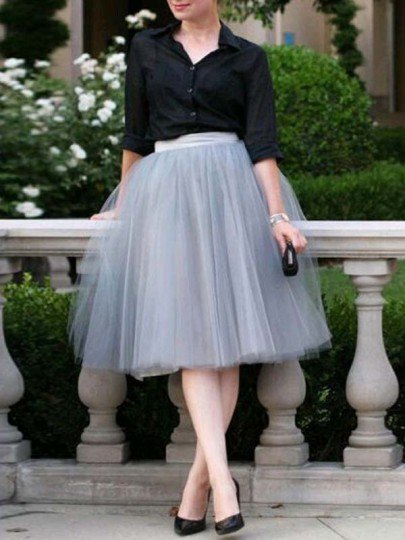 Grey Grenadine Fluffy Puffy Tulle High Waisted Sweet Cute Skirt