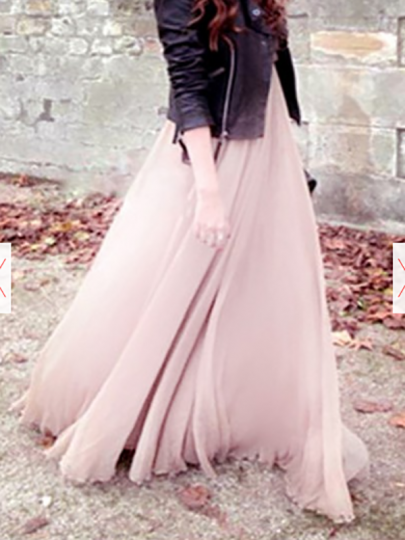 Pink Pleated Tiered High Waisted Chiffon Sweet Casual Going out Bohemian Long Skirt
