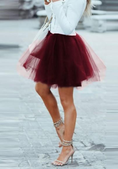 Falda adina borgoña drapeada mullida tul hinchada pañuelo de talle alto tutú lindo