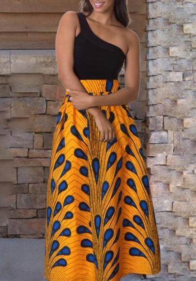 Jupe longue plume motif fluide culotte haute mode africaine femme jaune