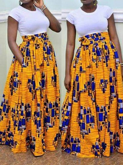 14ce13f8e0 Yellow Pleated Tribal Print High Waisted Indonesian Style Tutu Vegas Bohemian  Maxi Skirt - Skirts - Bottoms