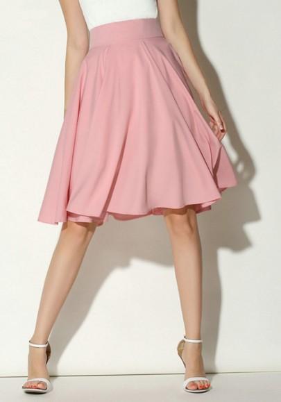 Rosa Plissee Knielang High Waisted Damen Mode Elegante Kuschel Midi Rock Glockenrock