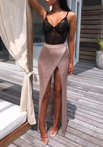 Rose Gold Irregular Bright Wire Slit High Waisted Clubwear Party Skirt