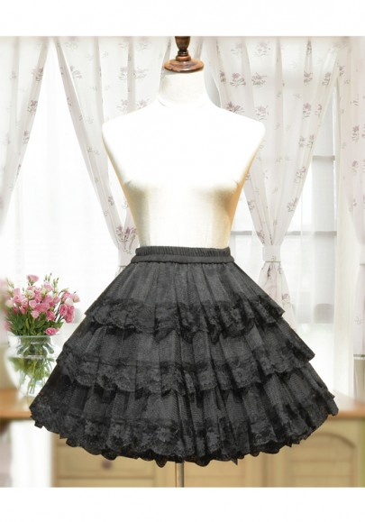 Black Pleated Lace Grenadine Fluffy Puffy Tulle Sweet Skirt