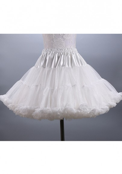 White Grenadine Sashes Pleated Bow Fluffy Puffy Tulle Sweet Skirt