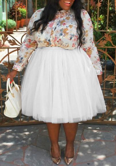 Weißes Plissee Mesh Puffy Große Größen Tutu Hohe Taille Midirock Petticoat Tüllrock Petticoat Unterrock