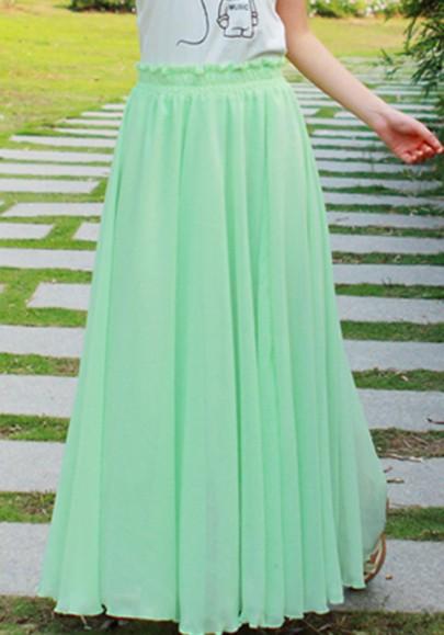 Jupe plaine drapée élastique mousseline de mode vert clair