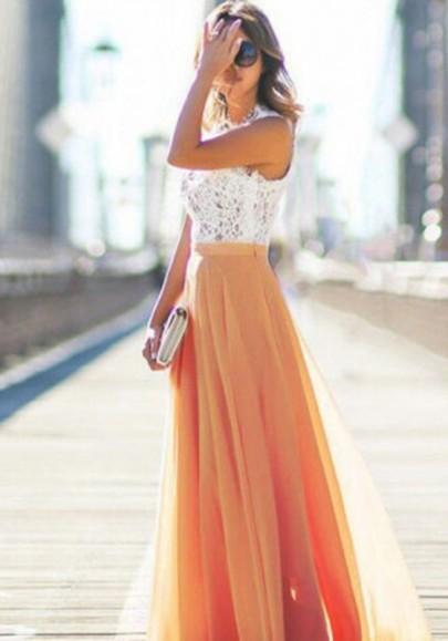 Orange Drapierte Elastische Taille Elegante Sommer Chiffon Maxirock Strandrock
