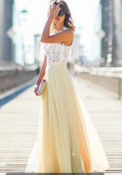 Beige Patchwork Lace Draped Elastic Waist Elegant Skirt