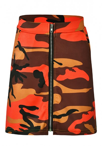 Orange Camouflage Print Zipper High Waisted Casual Party Skirt