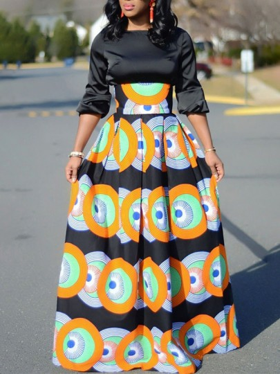 Orange Tribal Floral Print Pleated High Waisted Vintage African Party Ankara Fashion Long Skirt