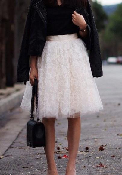 Tulle mi-longue jupe avec fleurie dentelle bouffante tutu élégant blanc femme