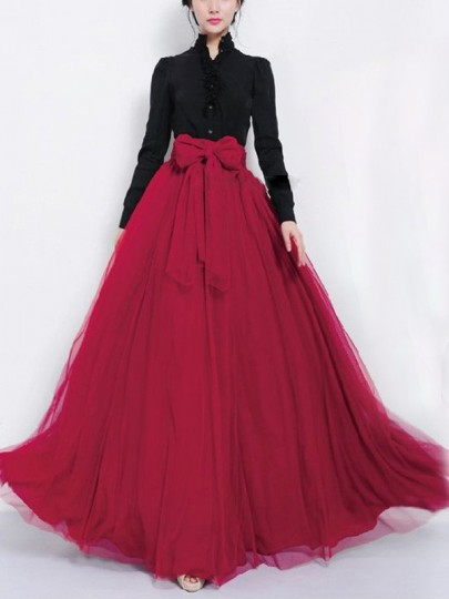 Burgundy Patchwork Grenadine Double-deck Pleated Sashes Bow Big Swing Multi-Functional High Waisted Casual Long Skirt