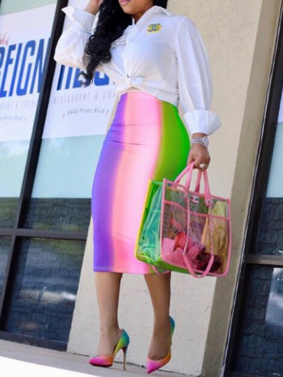 Pink Striped Pattern Zipper Rianbow High Waisted Bodycon Elegant Midi Skirt