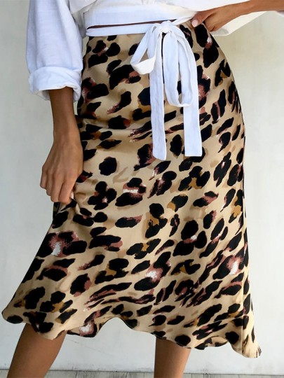 Yellow Leopard Silk Trendy Flowy Casual Below Knee Length Skirt