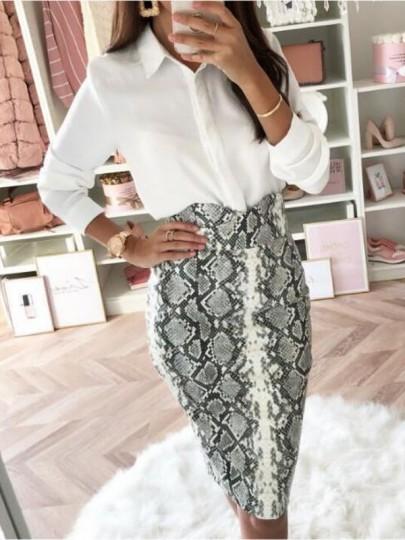 White Snake Skin Pattern High Waisted Bodycon Elegant Midi Skirt