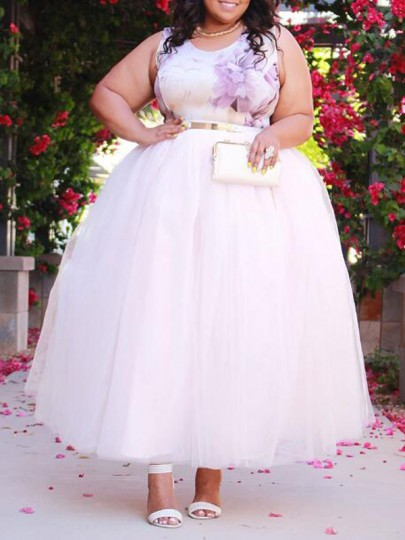 White Grenadine High Waisted Tulle Tutu Plus Size Homecoming Party Elegant Long Skirt