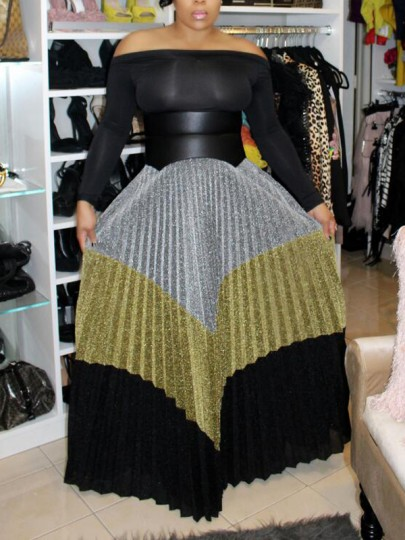 Silver Striped Pleated Bright Wire Glitter High Waisted Sparkly Elegant Long Skirt