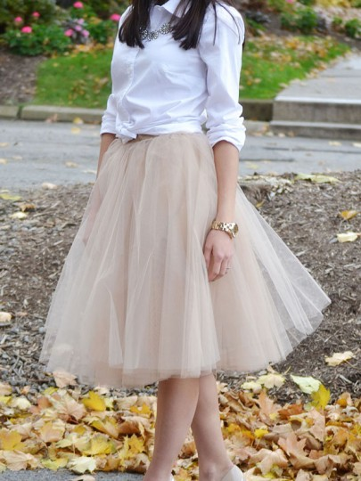 Apricot Patchwork Grenadine Pleated Plus Size High Waisted Tutu Cute Homecoming Party Skirt