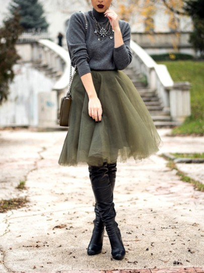 Army Green Grenadine High Waisted Plus Size Tulle Tutu Homecoming Party Cute Elegant Skirt