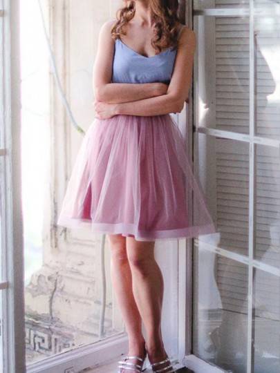 Pink Grenadine Pleated Fluffy Puffy Tulle Tutu High Waisted Cute Sweet Homecoming Party Skirt