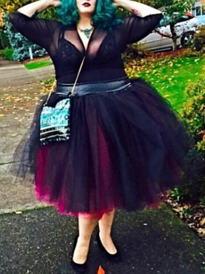 Black-Red Patchwork Grenadine Plus Size High Waisted Skater Tutu Homecoming Party Midi Skirt