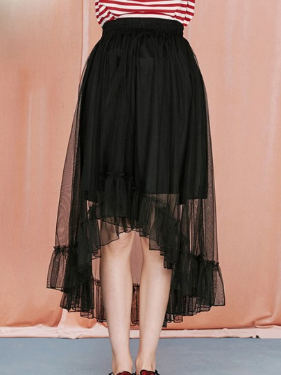 Black Patchwork Grenadine Pleated High-low High Waisted Skirt