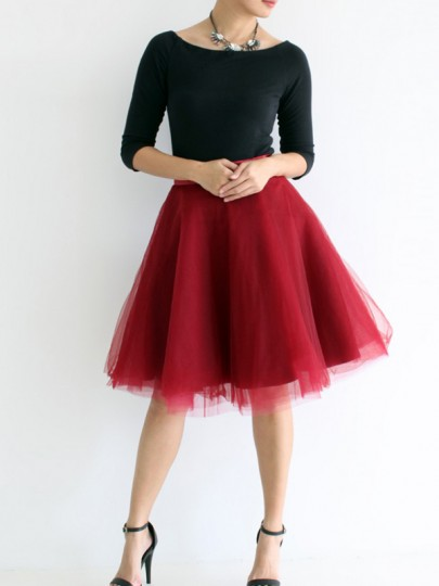 Red Grenadine Pleated Adorable Tutu High Waisted Elegant Going out Tulle Skirt