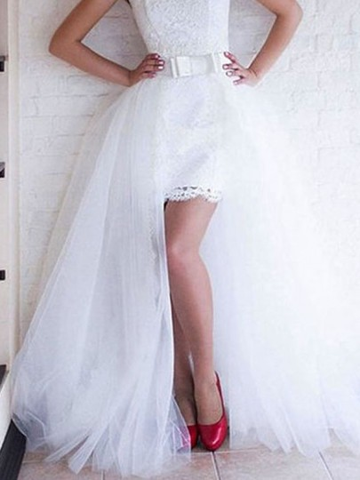 White Patchwork Lace Grenadine Pleated High-Low High Waisted Party Long Skirt