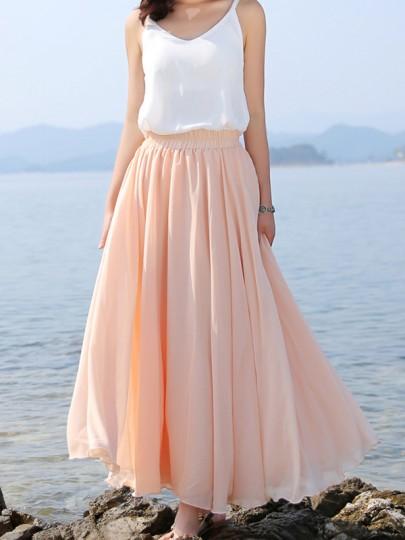 Rosa Plissee Elastische Taille Elegante Sommer Bohemian Chiffon Maxirock Strandrock Damen