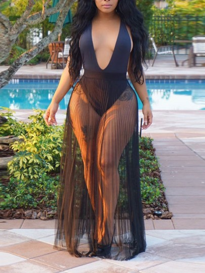 Black Grenadine Pleated Sheer Party Clubwear Beach Cover Up Long Skirt