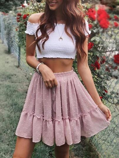 Jupe courte à pois volantée plissé coulisse taille élégant femme rose