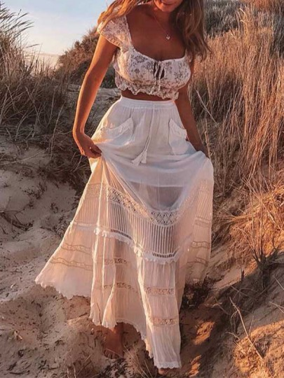 Jupe longue avec dentelle avec poches fluide vintage boho femme blanc