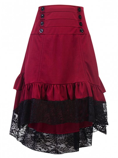 Burgundy Patchwork Lace Irregular Cascading Ruffle Draped High-Low Double Breasted High Waisted Going out Skirt