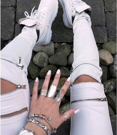 Longues jeans uni fermeture à fermeture éclair blanc