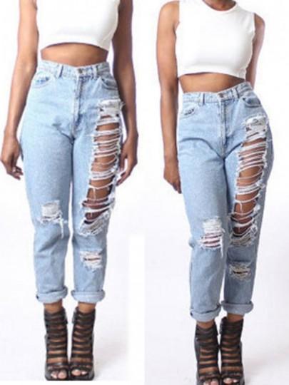 Hellblau Zerrissene Jeans Boyfriend High Waisted Taschen Löcher