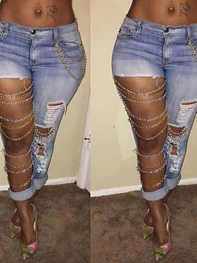 Hellblau Cut Out Kette Taschen Ripped Zerrissene Lange Jeans Damen
