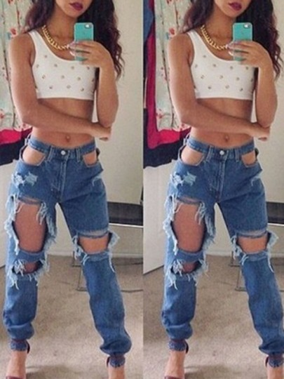Blue Plain Hollow-out High Waisted Ripped Boyfriend Fashion Jeans