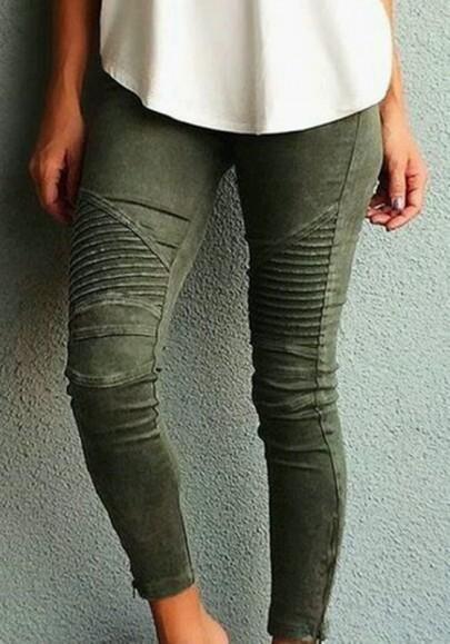 Armeegrün Taschen Buttons Mid-rise Schlank Beiläufig Lange Jeans